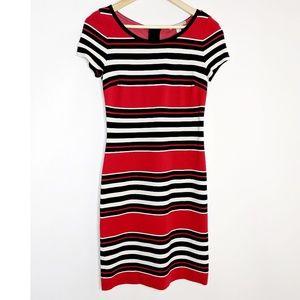 Banana Republic Red Black Striped Dress NWOT